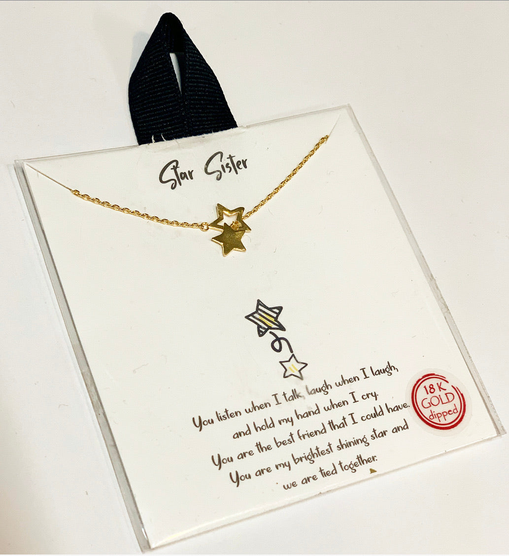 Star Sister Necklace, Gold