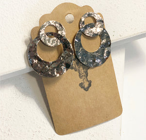 Double Hoop Earrings, Silver