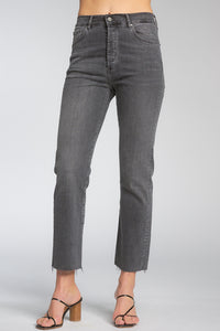 Elan Straight Raw Hem Jeans, Grey