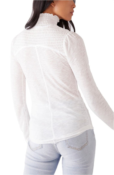 Free People Caroline Smocked Turtle Neck Top, White