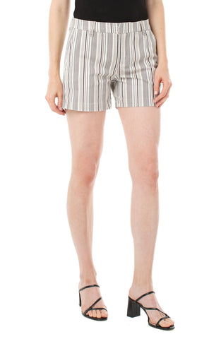 Dusty Coral Striped Trouser Shorts