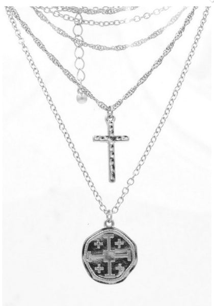 Layered Cross/Coin Pendant Necklace