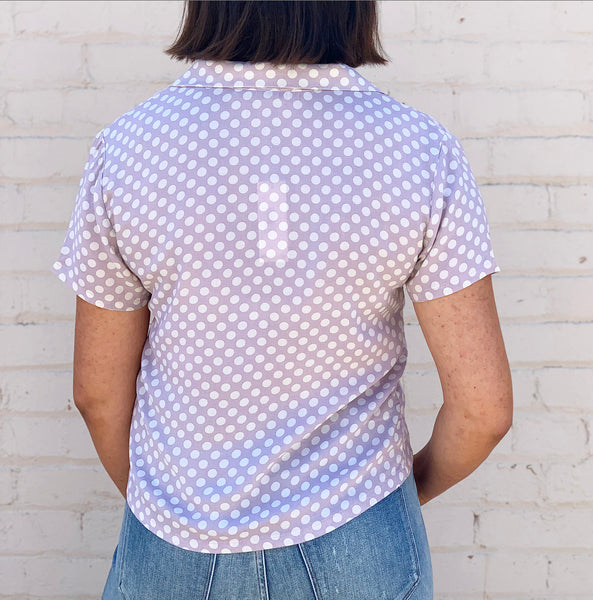Cameo Lilac Polka Dot Button Down Blouse