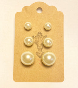 Pearl Cream Earring Set of 3