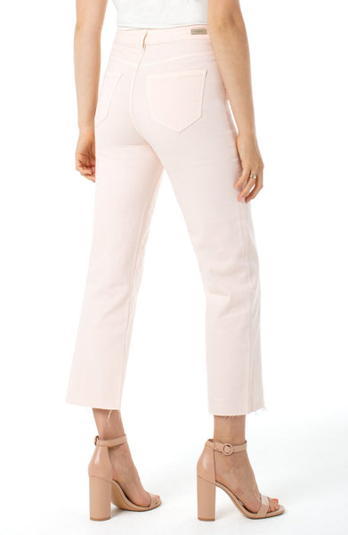 High Rise Cut Hem Liverpool Pants, Dawn Pink