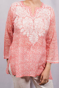 Dolma Light Pink Embroidered Cotton Top