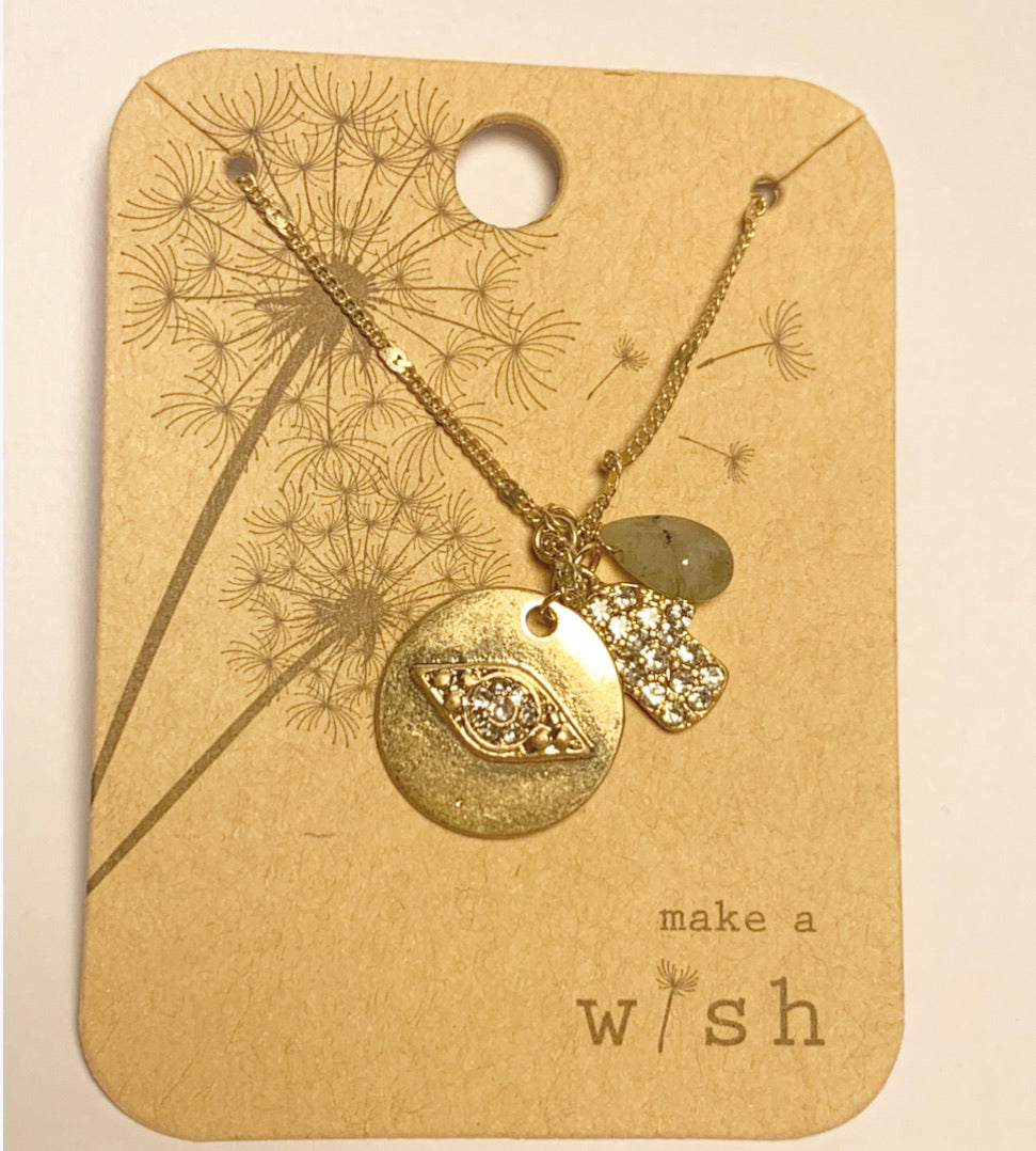 Wish Charm Gold Necklace