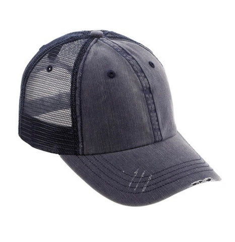 Distressed Ball Cap, Navy