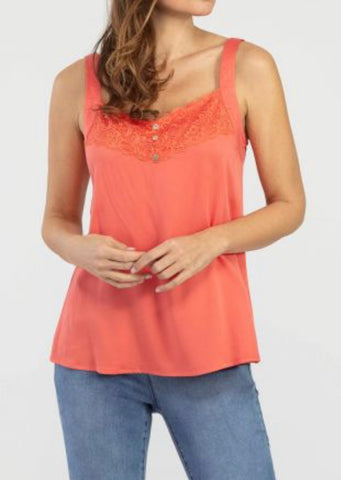 Tribal Lace Tank, Deep Coral