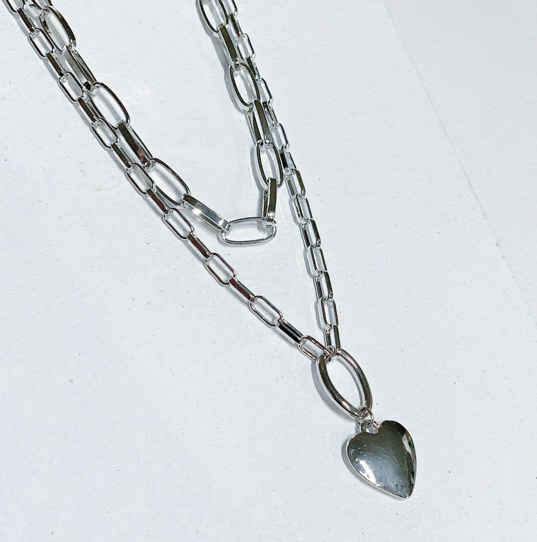 Double Chain Heart Necklace, Silver