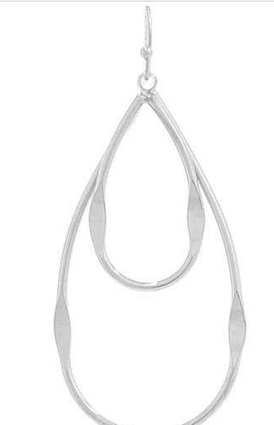 Double Tear Drop Outline Earring, Silver