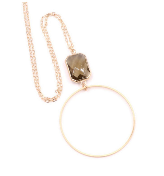 Ring & Stone Pendant Long Necklace