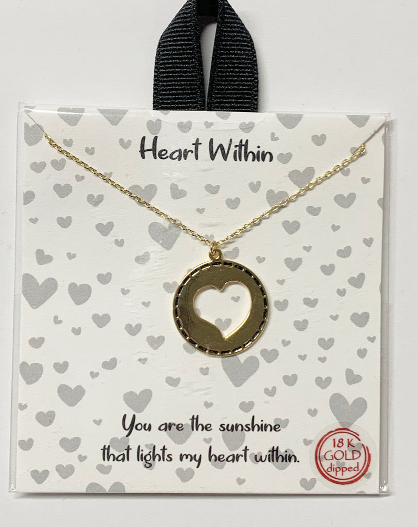 Heart Within Necklace, Gold