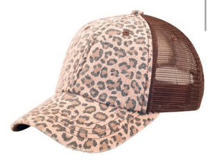 Leopard Hat With Distressed Bill, Brown