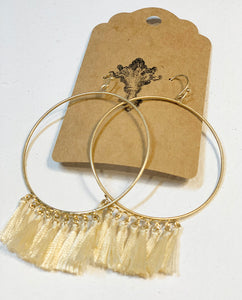 Tassel Earrings, Cream