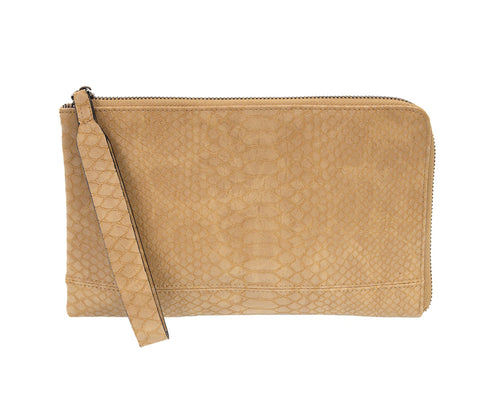 Joy Susan Camel Python Zip Around Wristlet