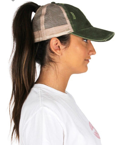 Ponytail Back Hat, Multiple Colors