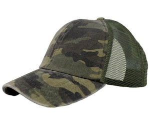 Distressed Camo Hat