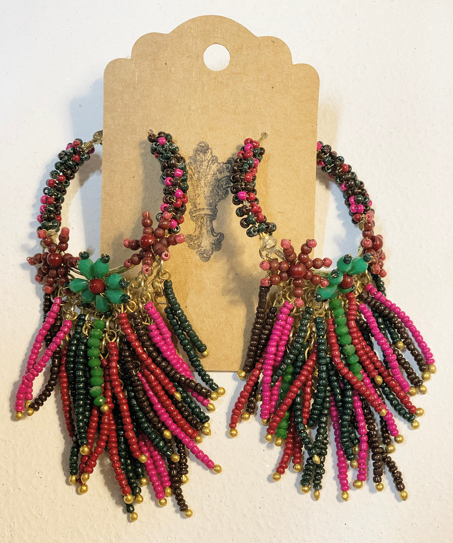 Floral Multicolored Beaded Earrings