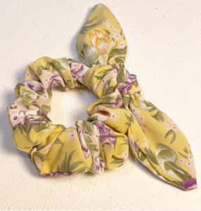 Yellow Floral Hair Scrunchie