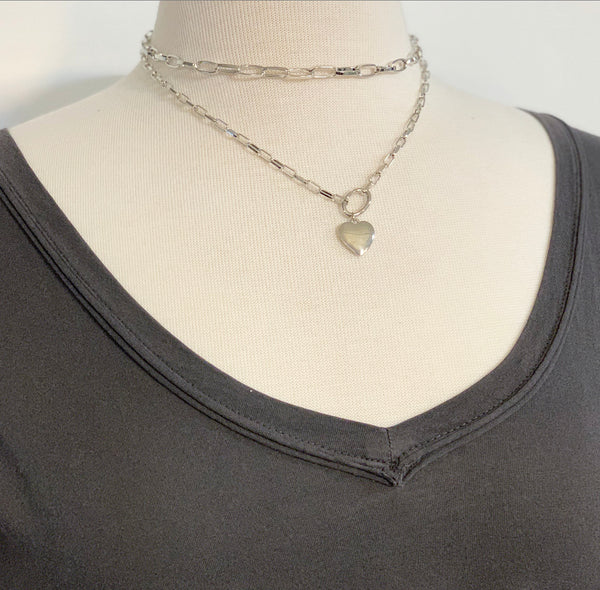 Double Chain Heart Necklace, Gold