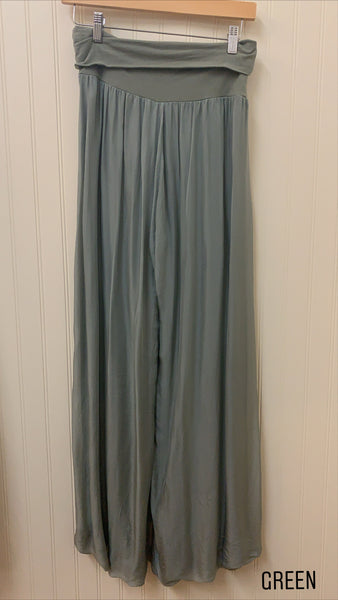 Made In Italy Silk Flowy Pants