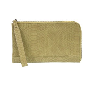 Joy Susan Python Pear Zip Around Wristlet