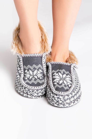 Charcoal PJ Salvage Fuzzy Moccasins