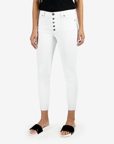 KUT High Rise White Ankle Skinnies
