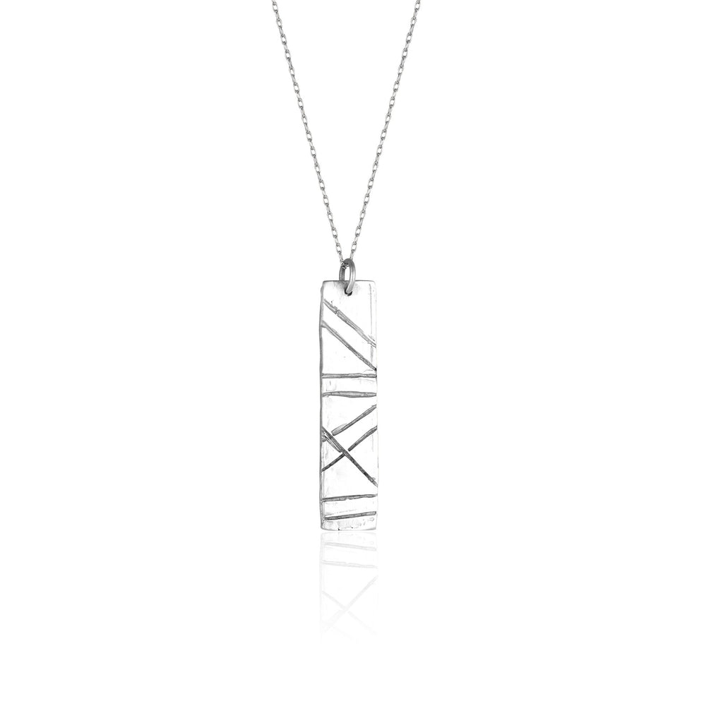 "Everyone needs a simple bar necklace, and the Alison necklace by Natalie McMillan is an absolute staple! Handmade from start to finish in sterling silver with a 20"" fine silver chain. Pairs perfectly with Sterling Silver Jackie Studs!"