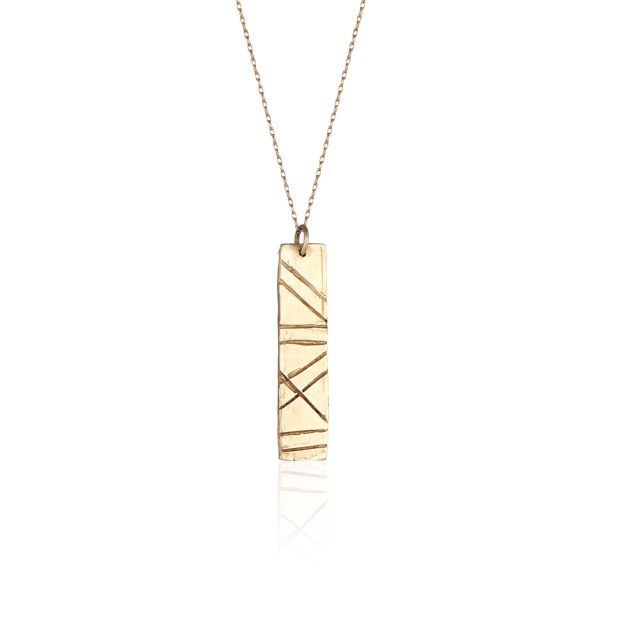 "Everyone needs a simple bar necklace, and the Alison necklace is an absolute staple! Handmade in LA by Natalie McMillan from start to finish in solid 14k gold with a 20"" fine gold chain."