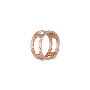 Imperfect, edgy, rustic, yet still delicate. This very unique Natalie McMillan Kathleen Ring is perfect for every day wear or as a statement! It is solid 14k Rose Gold and handcrafted to order.