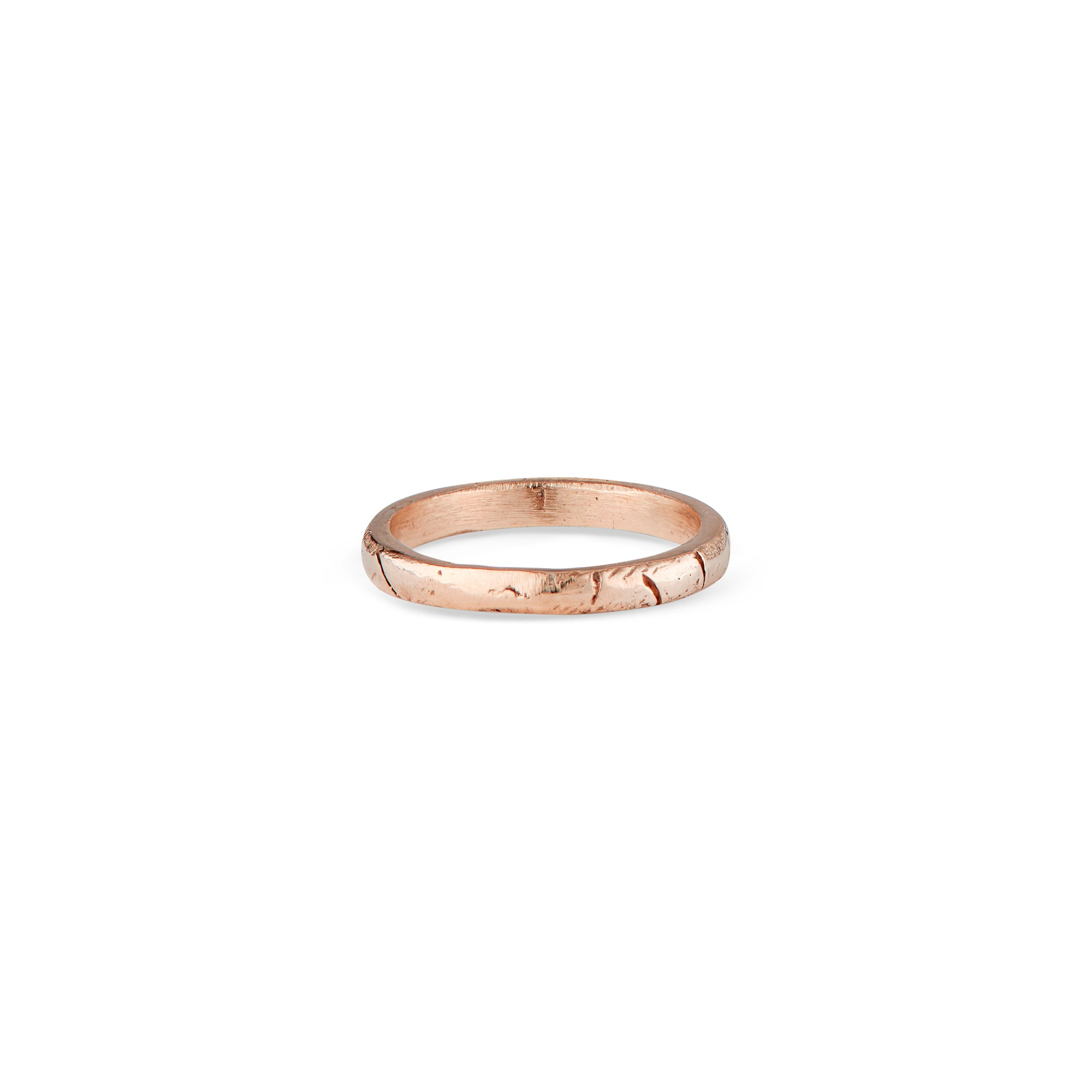 This is a super comfortable, stackable, solid 14k Rose gold Liz Ring with Natalie McMillan Jewelry's signature geometric texture around the band! It is handcrafted and made to order, making each one unique and one of a kind! It is perfect for every day wear and mixing and matching with other rings.
