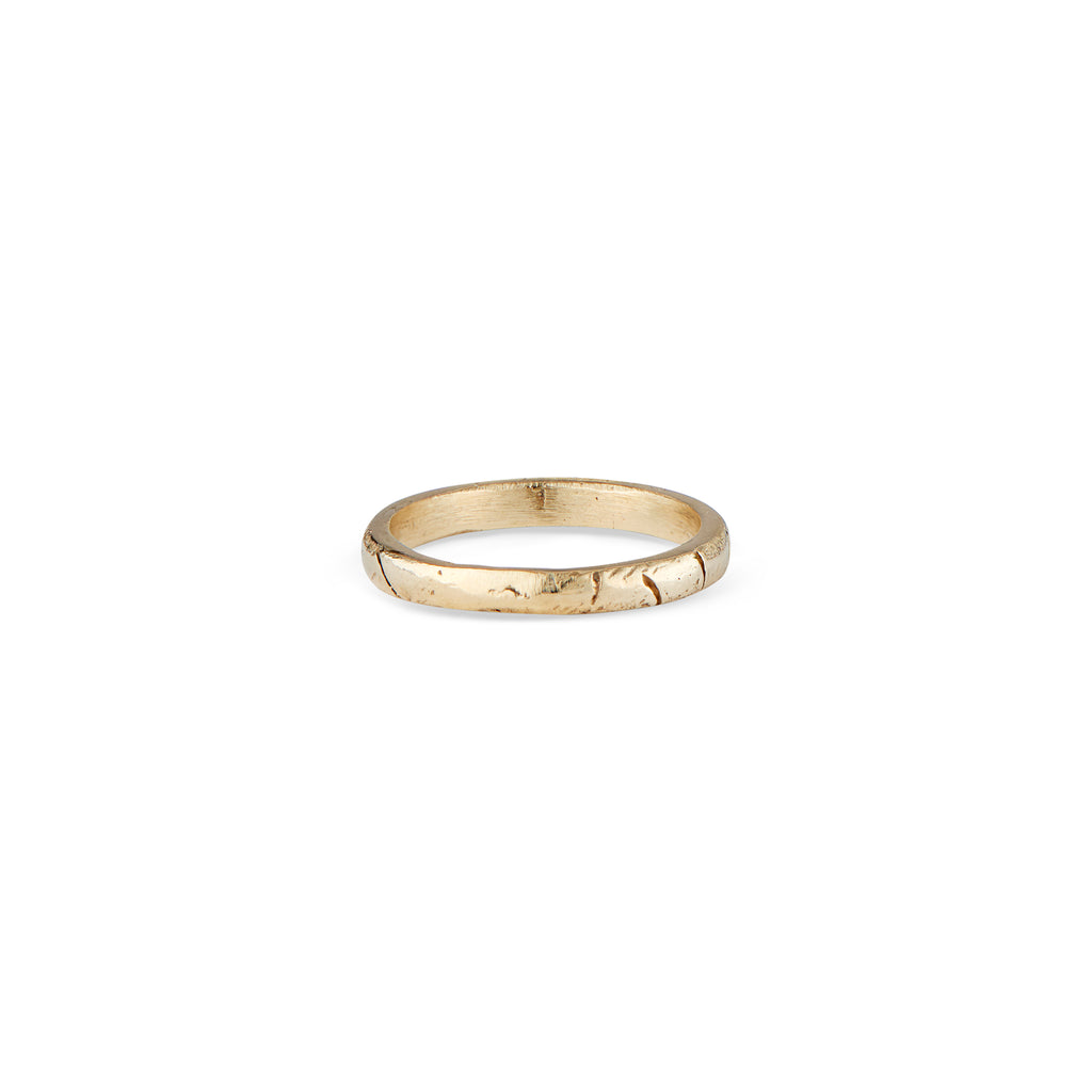 This is a super comfortable, stackable, 14k gold ring with the signature Natalie McMillan geometric texture around the band! It is handcrafted and made to order, making each one unique and one of a kind! It is perfect for every day wear and mixing and matching with other rings.