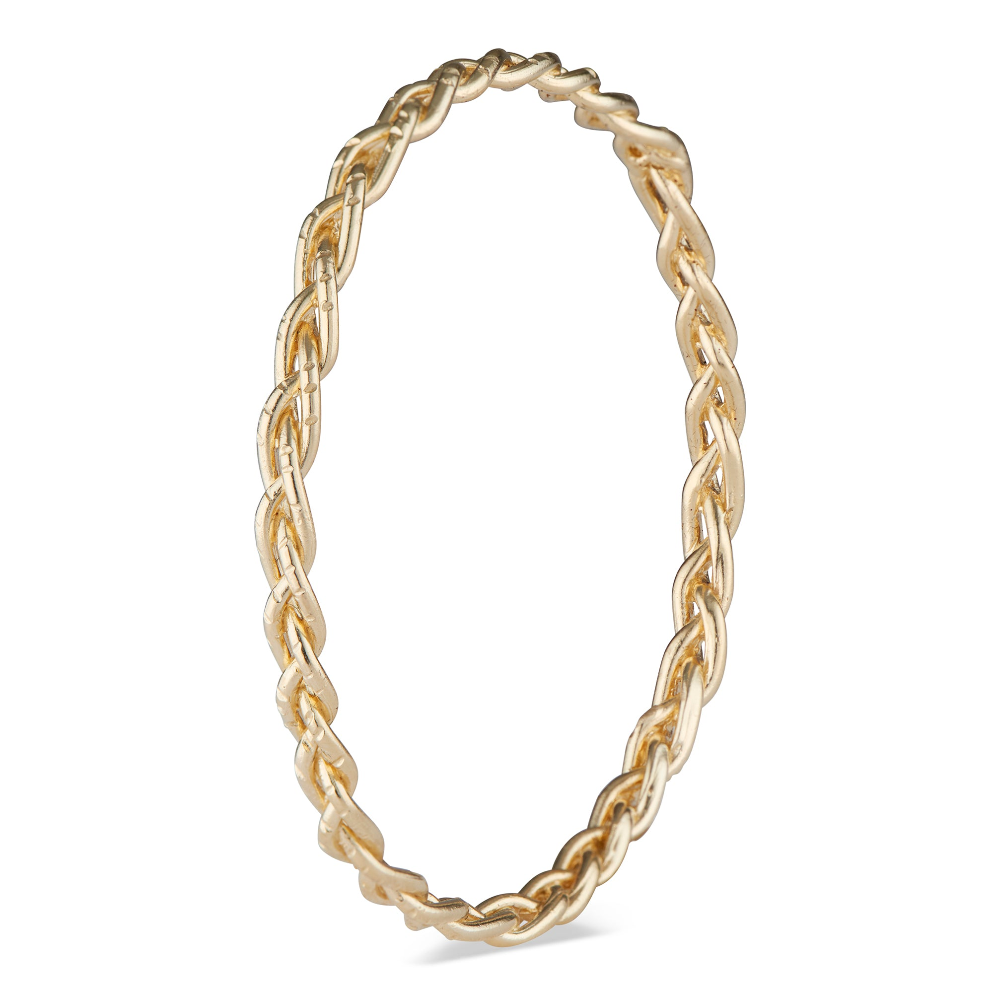 This 14k Gold braided bangle is a gorgeous piece to have on your wrist at all times. Slightly chunky, yet still understated and never heavy or uncomfortable. Goes beautifully with the Casandra Hoops and Taylor Ring!