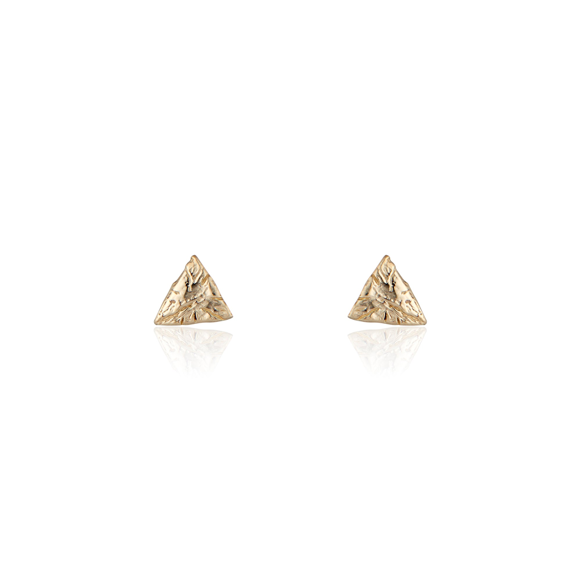 tiny gold studs, solid gold studs, natalie mcmillan jewelry, triangle earrings, solid gold earrings, holiday gift ideas, gifts for bridesmaids, los angeles style, earrings for any occasion, statement earrings