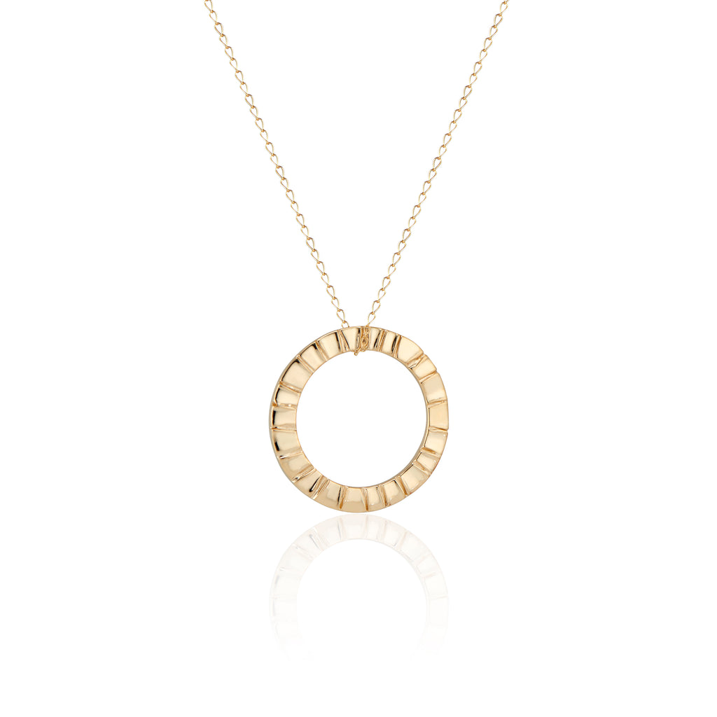 Natalie McMillan Signature Piece and Best Seller! This 14k Gold Samantha Necklace features a textured circular pendant on a delicate 14k gold chain. It is, as always, handcrafted and made to order. It has a rustic/boho feel to it, but still remains delicate enough to wear as an every day necklace!