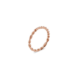 This solid 14k Rose Gold twisted Lauren band features Natalie McMillan's signature etchings. It is the ultimate stacking ring, as its thin, twisted design effortlessly goes with any ring it gets paired with! It looks especially incredible in a stack of all Lauren rings in mixed metals!