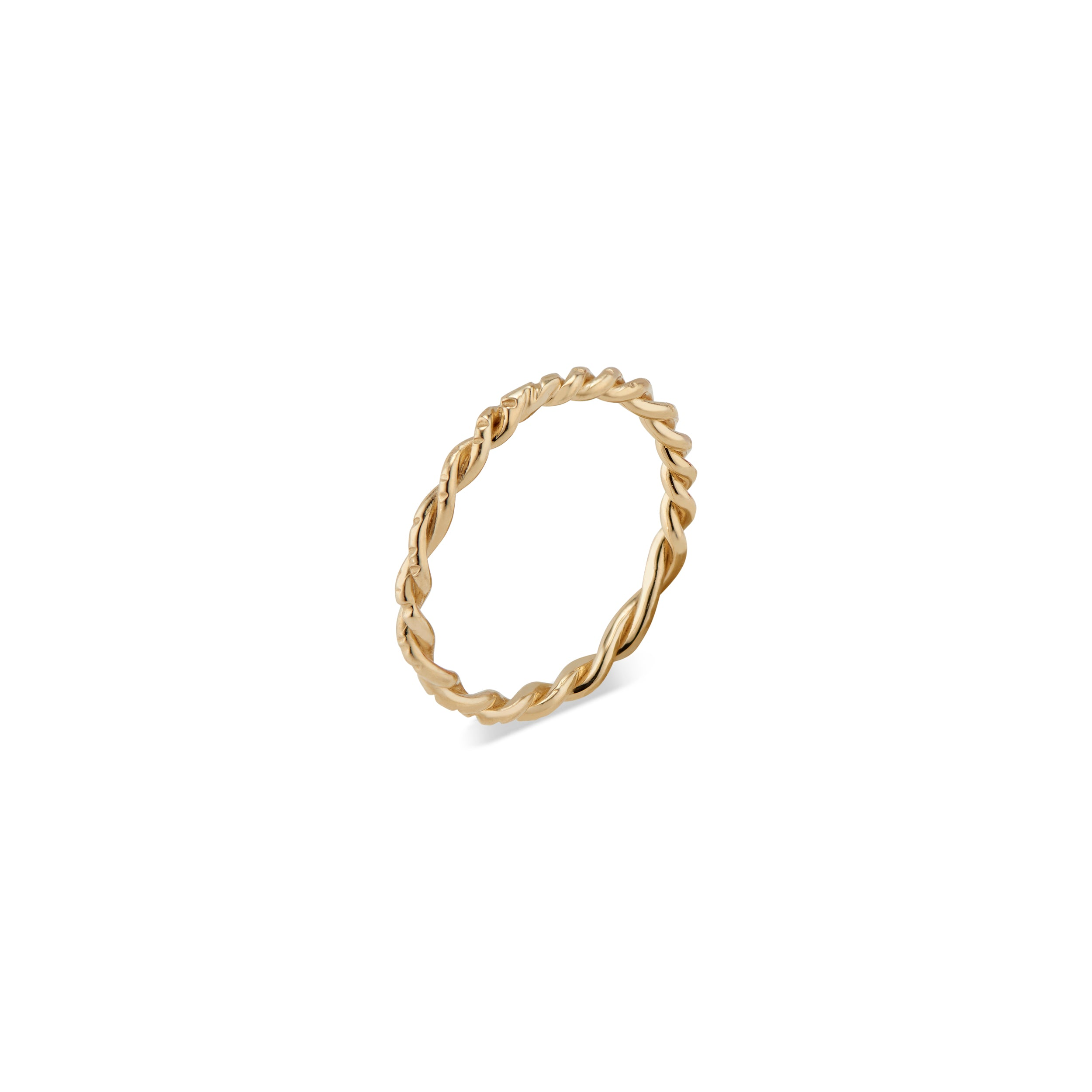 This 14k gold twisted Lauren Ring features Natalie McMillan's signature etchings. It is the ultimate stacking ring, as its thin, twisted design effortlessly goes with any ring it gets paired with!
