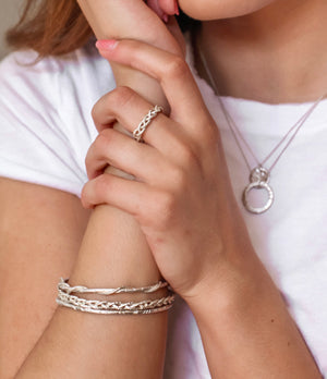 The Natalie McMillan Taylor Ring is solid sterling silver and, as we say in the Bay Area, hella comfy. Sure to be that ring that you just never take off. Pairs perfectly with the Lillian Bangle and Casandra Hoops!