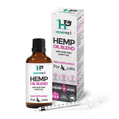 HempPet, Hemp Oil Blend with Hoki Fish and MCT oil for Cats, Omega 369, DHA, EPA, skin issues and anxiety