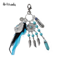 Artilady Dreamcatcher Charm, Stone and Feather Keychain (FREE SHIPPING)