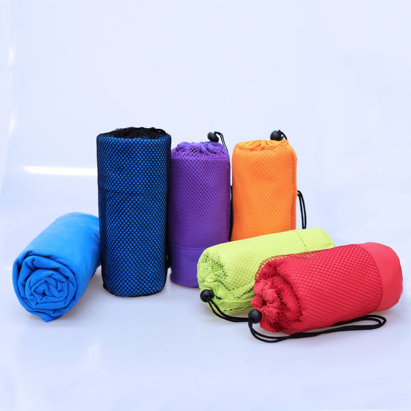 Microfiber Travel Sports Towel with Bag - 5 Different Colors