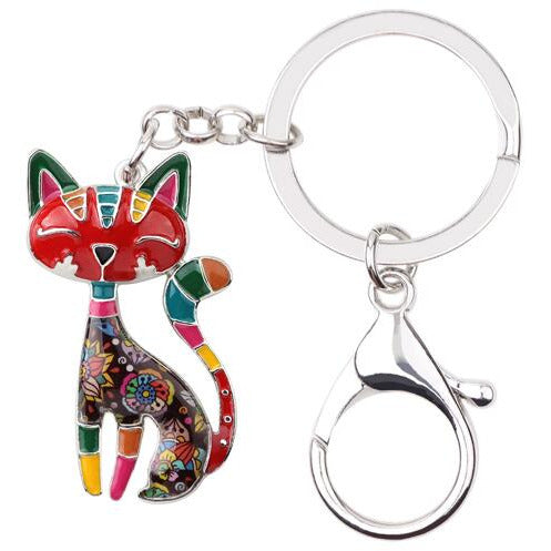 Metal and Enamel Cat Keychain (FREE SHIPPING)