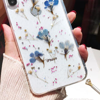 Shades of Blue Pressed Flowers Mobile Phone Case for iPhone (FREE SHIPPING)