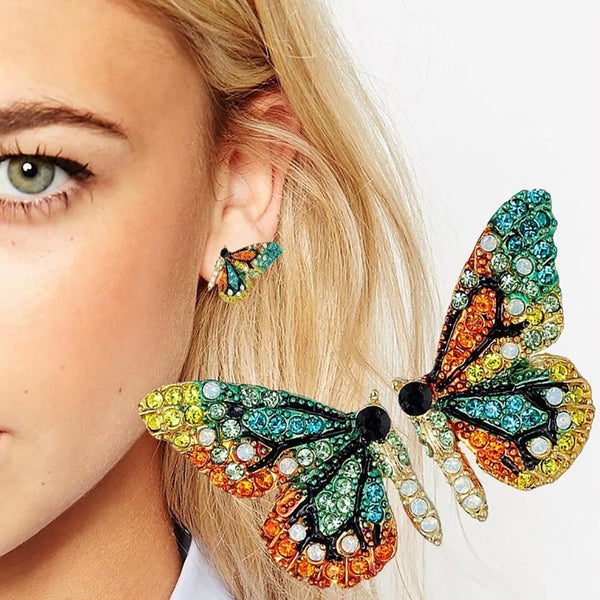 Multi-Color Rhinestone Butterfly Earrings (FREE SHIPPING)