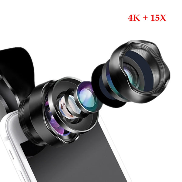 Professional 2 in 1 4k HD Super Wide Angle + 15X Macro Lens (FREE SHIPPING)
