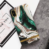 Agate, Marble and Gold Bar Silicone Mobile Phone Case For iPhone (FREE SHIPPING)