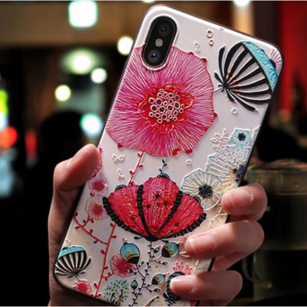 Flower Embossed Mobile Phone Case for iPhone (FREE SHIPPING)