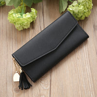 Faux Leather Long Tassel Heart Charm Clutch Wallet - 2 Colors (FREE SHIPPING)